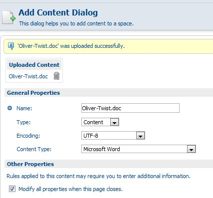 Alfresco Add Content form